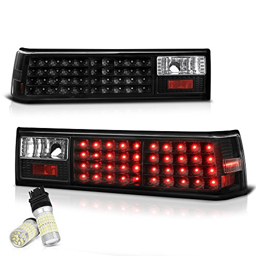 VIPMOTOZ For 1988-1993 Ford Mustang Black Bezel LED Tail Brake Light Housing Lamp Assembly - Full SMD LED Reverse Bulbs Included, Driver & Passenger Side Replacement Pair