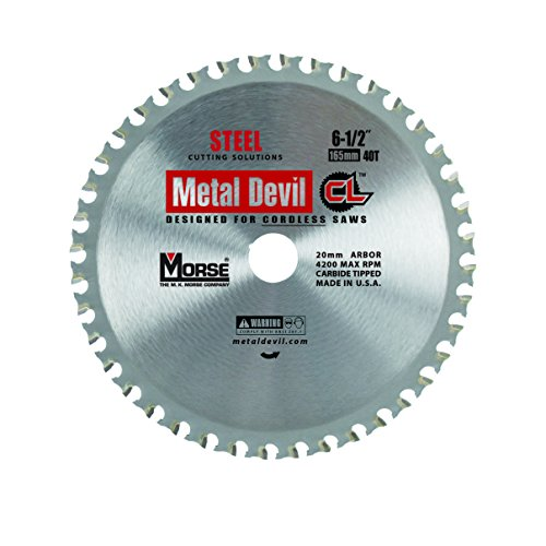 MK Morse CSM6504020CLSC Metal Devil CL Circular Saw Blade, for Cordless Saw, 6-1/2-Inch Diameter, 40 TPI, 20mm Arbor, for Steel Cutting