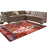 Animal,Carpet,Ethnic Elephant Dancing Rocking The Dance Floor with its Meditating Moves Print,Home Decor Area Rug,Multicolor,5'x6'