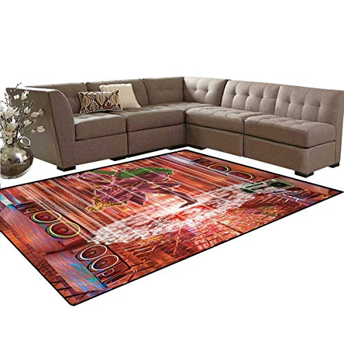 Animal,Carpet,Ethnic Elephant Dancing Rocking The Dance Floor with its Meditating Moves Print,Home Decor Area Rug,Multicolor,5'x6' by smallbeefly