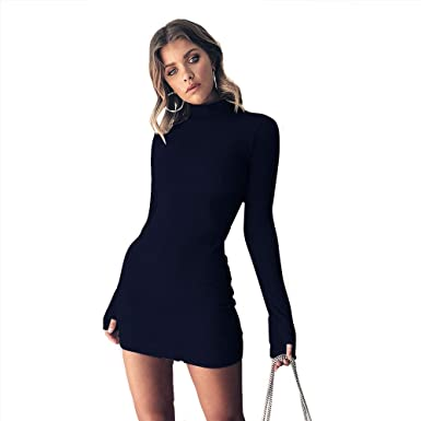 b225c5736c5b Women's Long Sleeve Turtleneck Sexy Bodycon T-Shirt Slim Short Mini Dress  Black