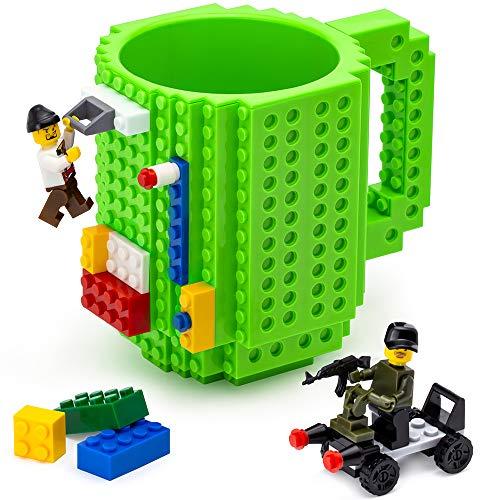 TOYAMBA Build-on Brick Mug - (Green) Funny Coffee Mug with Building Bricks, Funny Cups for Kids - Creative Building Block Mug DIY Gift Idea -