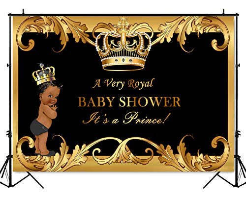 Mehofoto Black Baby Shower Backdrop Little Prince Royal Black Gold Crown Photography Background 7x5ft Vinyl Little Boy Baby Shower Party Banner Decoration Backdrops