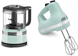 KitchenAid KFC3516IC 3.5 Cup Food Chopper, Ice & KHM512IC 5-Speed Ultra Power Hand Mixer, Ice Blue