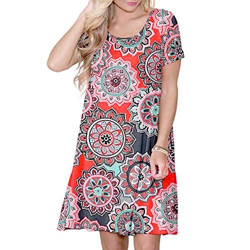 715e64e429 2019 New Women's Summer Casual T Shirt Dresses Floral Print Short Sleeve  Swing Dress with Pockets