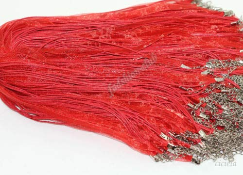 FidgetGear 20Pcs Organza Ribbon Cotton Necklace Cords with Lobster Clasps Jewelry Findings Oriental Ted