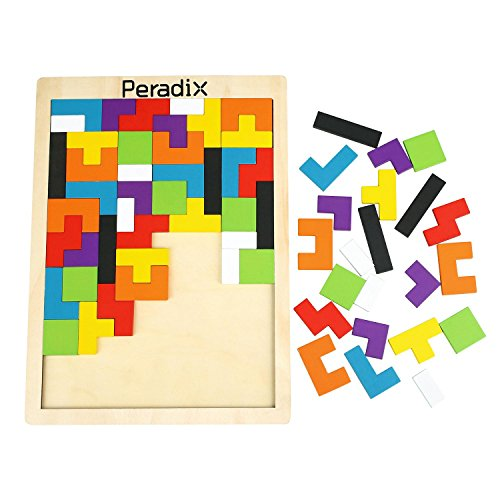 Peradix Wooden Jigsaws Tangram Puzzle Board Toys Colourful Brain Teasers Upgraded Toys Set 63PCS for Preschool Imagination Intellectual Education (Combination Brain Teaser Puzzle)