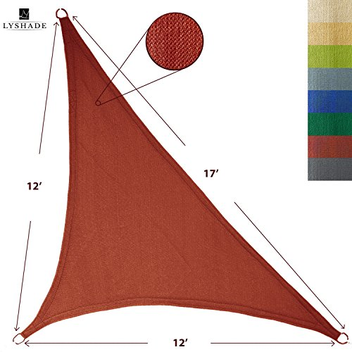 LyShade 12' x 12' x 17' Right Triangle Sun Shade Sail Canopy (Terracotta) - UV Block for Patio and Outdoor ()