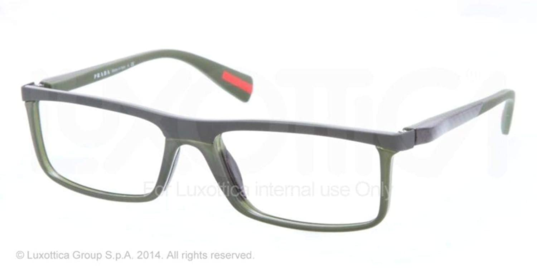 598cecc9ff Prada Sport PS53EV Eyeglasses-ROS 1O1 Military Green Rubber-56mm at Amazon  Men s Clothing store