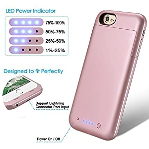 iPhone 6S Plus 6 Plus Battery Case 6800mAh TQTHL Portable Charger Case Rechargeable Extended Battery Pack Protective Backup Charging Case Cover for iPhone 6 Plus/6s Plus 5.5 inch-Rose Gold