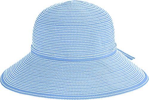 Coolibar UPF 50+ Girl's Tea Party Ribbon Hat - Sun Protective (Large/X-Large- Powder Blue)