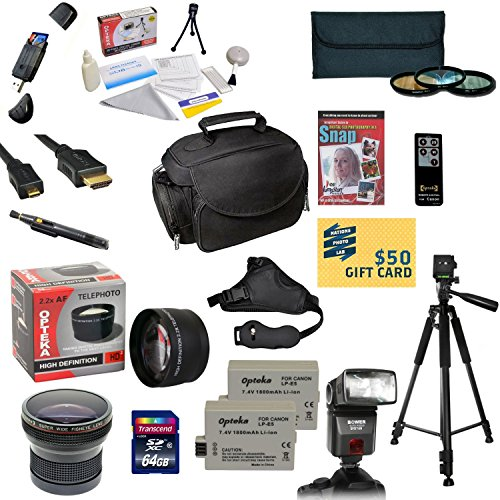 47th Street Photo Pro Shooter Accessory Kit for the Canon 450D, 1000D, XS, XSi, Kiss X2 - Kit Includes: 64GB High-Speed SDXC Card + Card Reader + 2 Extended Life Batteries + Travel Charger + 58mm 0.43x HD2 Wide Angle Macro Fisheye Lens + 58mm 2.2x HD2 AF  by 47th Street Photo