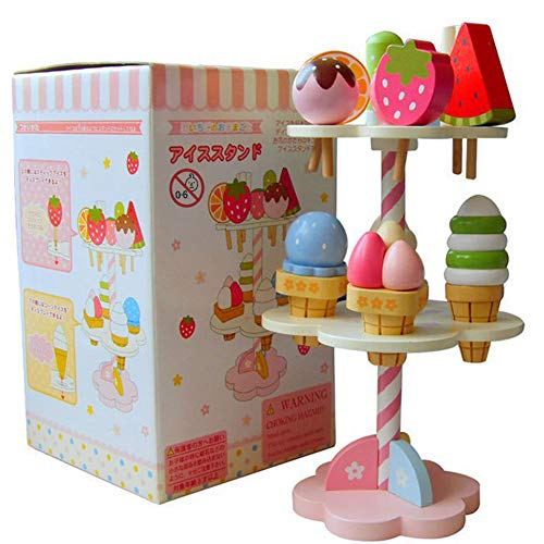 Luerme Pretend Play Set, 11 Stück Eiscreme Spielzeug aus Holz Simulation Spielhaus Eiscreme Spielzeug Eis Drei-Schicht-Kuchen aus Holz Küche Spielzeug für Jungen und Mädchen