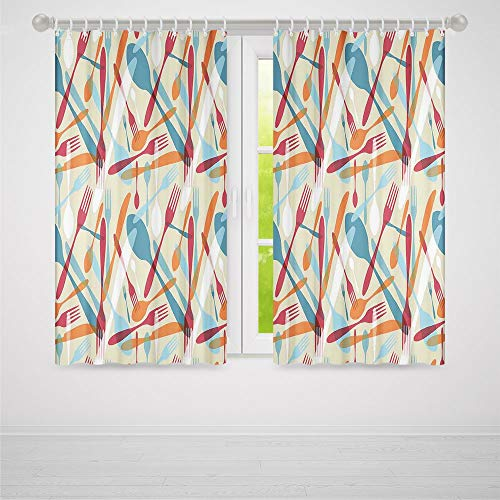 TecBillion Small Window Blackout Curtains,Kitchen Decor,Living Room Bedroom Décor,Abstract Cutlery Image Knife Fork Spoon Modern Home and Cafe Art Design Pattern,59Wx65L Inches ()