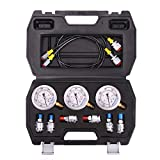 Measureman Portable Excavator Hydraulic Pressure Test Coupling Kit, Including 6 Test Couplings, 3 Pressure Gauges, 2 Test Hoses for Excavator Construction Machinery