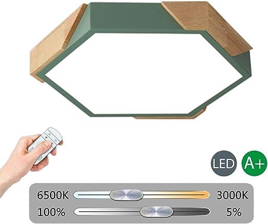 VinDeng N/órdico LED L/ámpara de techo 24w Hex/ágono Con Di/ámetro 40cm Acr/ílico De madera Plaf/ón Dormitorio Habitaci/ón ni/ños-Blanco Blanco Fr/ío