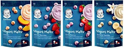 Gerber Graduates Yogurt Melts - Variety Pack - Bundle of 4 (Banana Vanilla, Peach, Strawberry, Mixed Berries) by Gerber Plumbing