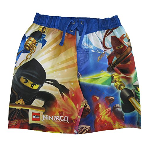 Price comparison product image Lego Little Boys Red Yellow Ninjago Minifigures Printed Swim Wear Shorts 5-6