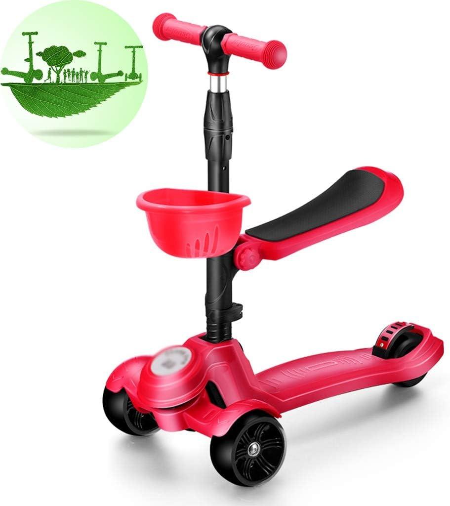 Scooter Patinetes Bicicleta Infantil con Cesta Dibujos Animados con Asiento Hombres Y Mujeres Destellan Patineta De Tres Ruedas (Color : Red, Size : 70-85cm)