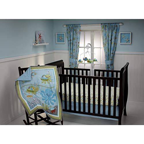 Big Border Bold (3 Piece Blue Green Grey Nautical Baby Crib Bedding Set, Animal Themed Newborn Nursery Bed Set Infant Child Soft Turtles Sea Water Ocean Bold Border Wavy Stripe Blanket Comforter, Polyester Cotton)