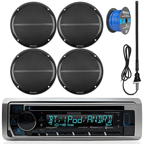 "Kenwood Marine Boat Outdoor Bluetooth CD MP3 USB/AUX iPod iPhone Stereo Receiver 4x 6.5"" Inch Dual Cone Enrock Marine Waterproof Speakers 50 ft Marine Speaker Wire, Antenna (Black)"