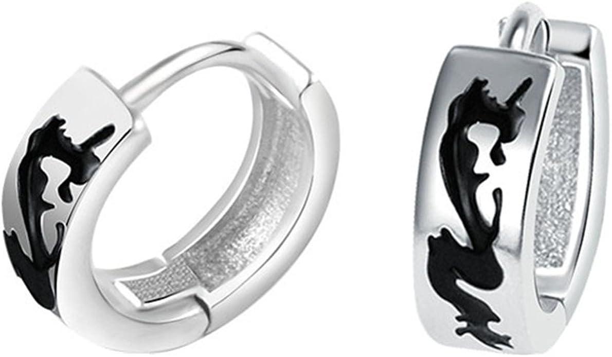 Tribal Dragon Pair 7mm Black Stainless Steel Print Huggie Hoop Earrings