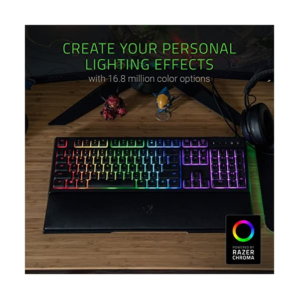 Razer Ornata Chroma Gaming Keyboard: Hybrid Mechanical Key Switches - Customizable Chroma RGB Lighting - Individuallly Backlit Keys - Detachable Plush Wrist Rest - Programmable Macro Functionality