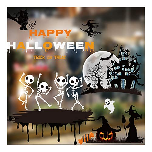 Bestjybt Halloween Window Clings Decorations Stickers Halloween Decals for Windows Glass Walls (Style