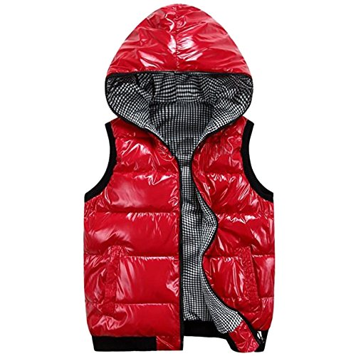 Coat Red Hooded KINDOYO Down Winter Waterproof Sleeveless Outwear Down Mens Vest Jacket Puffer Windproof wXqzOw
