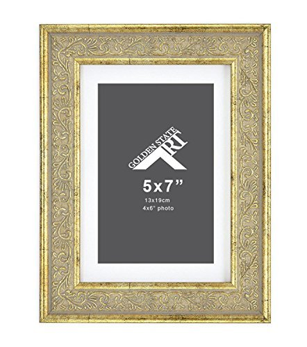 Tall Panel Four 7 - Golden State Art 5x7 Frame for 4x6 Photo with White Mat, Table-Top Easel Stand, Real Glass (Vertical + Horizontal) (Light Gold Pewter with Ornate Panel)