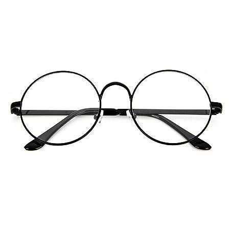 ec1b9af0c4 Unisex Retro Round Metal Frame Clear Lens Glasses Eyeglasses Vintage Geek  Glasses (Black)  Amazon.co.uk  Kitchen   Home