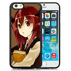 Popular And Unique Designed Cover Case For iPhone 6 4.7 Inch TPU With Girl Brunette Wings Book Look black Phone Case