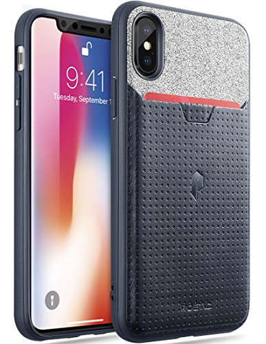 iPhone Xs Credit Card Case, iPhone X Credit Card Case, Poetic Nubuck [Credit Card Slot] [Pull-Tab] Stylish Thin TPU + Premium Leather Back Case for Apple iPhone X (2017)/ iPhone Xs (2018) - Navy Blue