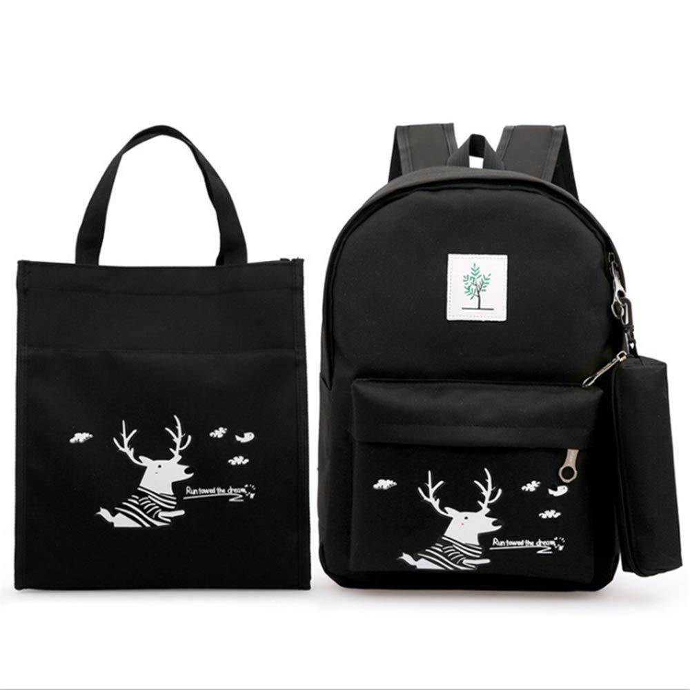 Chengzuoqing Schüler Schultasche Cute Deer Printing Printing Printing 3 in 1 Mädchen Rucksack Sets Packung mit 3 Stück Studenten Rucksack Bookbag Leinwand Schultaschen Leichte Studentenrucksäcke (Farbe   Schwarz) bddc8a
