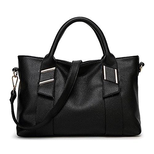 Myzin Women Top Handle Tote Handbag Shoulder Bag Large Crossbody Purse (Black) - Large Single Compartment Tote Handbag