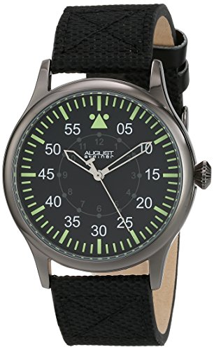 August Steiner Men's AS8125BK Black Swiss Quartz Watch with Black Dial and Black Canvas over Nubuck Leather Strap
