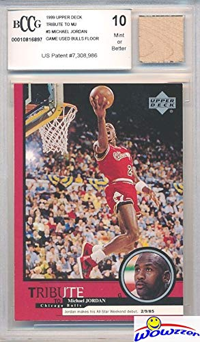 - 1999 Upper Deck Tribute Michael Jordan Card with a Piece of Authentic Michael Jordan Game Used CHICAGO BULLS FLOOR Graded HIGH BGS BECKETT 10 Mint GGUM Card! Amazing Jordan Collectible! WOWZZER!