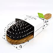 Amazon Lightning Deal 80% claimed: Boar Bristle Hair Brush - Bamboo Brush for Shiny, Healthy Hair and Preventing Breakage, Damage Split Ends, Frizzy, Unmanageable Locks - Added Pins to Detangle & Scalp Stimulation. Eco-Friendly Paddle