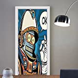 Gzhihine custom made 3d door stickers Modern Decor Futuristic Time Machine Like Futuristic Robotic Image Art Dark Blue Sky Blue and White For Room Decor 30x79