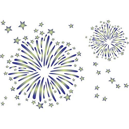 "Fireworks Stencil - (size 12.5""w x 8.5""h) Reusable Wall Stencils for Kids Rooms - Best Quality Nursery Baby Boys Girls Room Stencil Ideas - Use on Walls, Floors, Fabrics, Glass, Wood and More… ()"