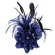 ACTLATI Fascinator Hat for Women Cocktail Charming Big Flower Headband Netting Mesh Hair Clip Tea Party Kentucky Derby