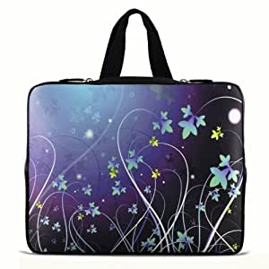 """9.7"""" 10"""" 10.1"""" 10.2"""" inch Laptop Netbook Tablet Case Sleeve Carrying bag with Hide Handle For iPad 2 3/Asus EeePC 10 transformer/Acer Aspire one/Dell inspiron mini/Samsung N145/Toshiba/Kindle DX/Lenovo S205/HP Touchpad Mini 210 - Blue Flower N10-981"""