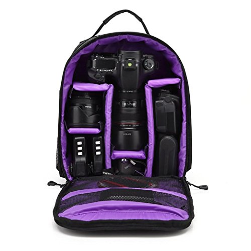 Gotd Durable Waterproof DSLR Camera Backpack Case Bag For Canon For Nikon For Sony (Purple)