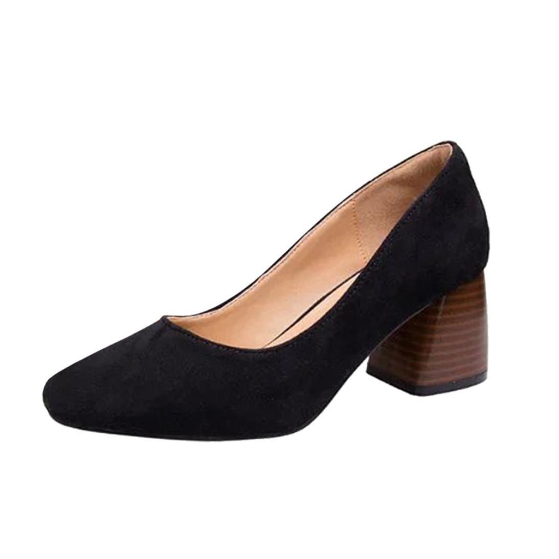 DENER Women Ladies Chunky Heel Shoes Mules,Suede Block Heel Pointed Toe Wide Width Comfort Casual Business Office Shoes (Black, 40)
