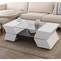 Contemporary Two-tone Multi-storage Glass Coffee Table - Sleek White Walnut