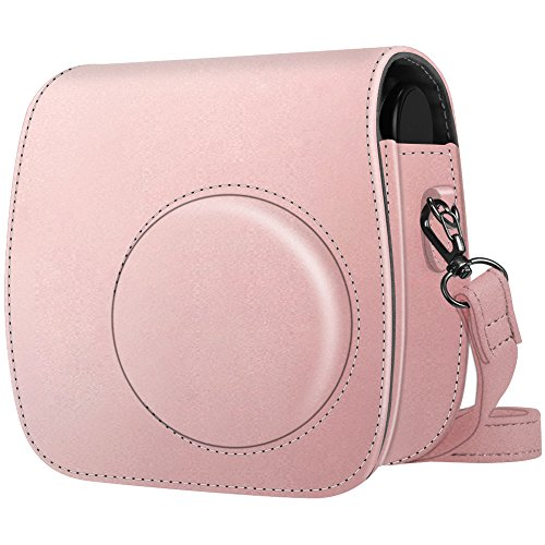 Fintie Protective Case Compatible with Polaroid PIC-300 / Fujifilm Instax Mini 7s Instant Film Camera - Premium Vegan Leather Bag Cover with Removable Strap, Rose Gold