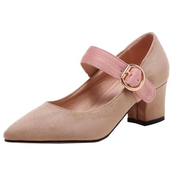 Zanpa Damen Klassische Schuhe Mid Heels Schnalle Shoes Slip On Black Size 32 JNo8ydGQ