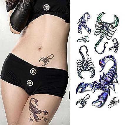 Oottati Tatuajes Temporales 3d Escorpiones 2 Hojas Amazones Belleza