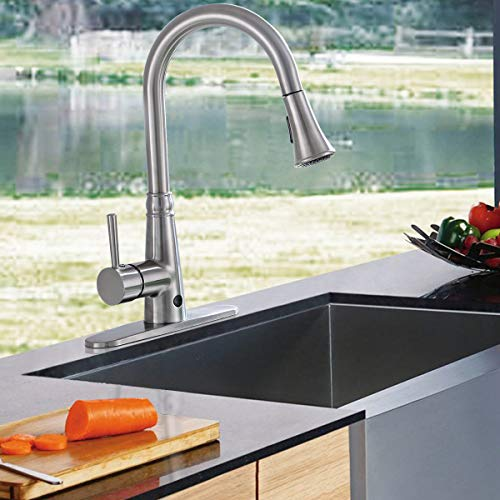 Giantex Pull-Down Kitchen Faucet Motion Sense Touchless Dual Sprayer Single Handle Hot Cold Water Mixer Rotatable High Arc (Metal Wire-Drawing) by Giantex (Image #4)