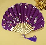 Purple 50Pcs/Lot Printed Personalized Delicate Packaging Japanese Flower Floral Fabric Folding Hand Fan Wedding Favors